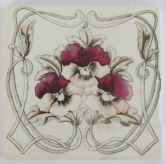 Art Nouveau Jugendstil Victorian Transfer ware Tile Fliese Antique vintage t | eBay