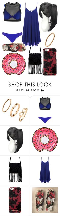 """Marcilene's Beach Outfit"" by bloodmoonorsilentdeath on Polyvore featuring H&M, Kendall + Kylie, Round Towel Co. and Michael Kors"