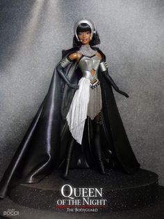 "Doll inspired by Rachel Marron singing ""Queen of the Night"", a character from the movie ""The Bodyguard"" starring Whitney Houston. Whitney Houston, Divas, Original Barbie Doll, Kubo And The Two Strings, Doll Museum, African American Dolls, Beautiful Barbie Dolls, Valley Of The Dolls, Black Barbie"