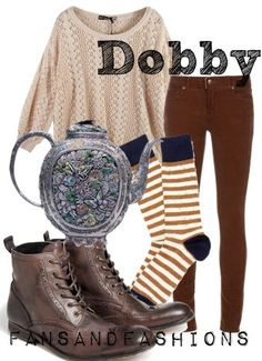 Harry Potter Characters Fashion Inspiration for DOBBY Harry Potter Mode, Estilo Harry Potter, Harry Potter Style, Harry Potter Outfits, Harry Potter Characters, Harry Potter Fashion, Harry Potter Sweater, Dobby Harry Potter, Moda Disney