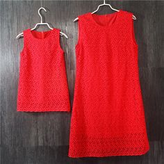 Brand red lace plus large size mother and daughter dresses party dress women Sleeveless sundress one-piece family match clothes