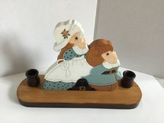 Vintage Handmade Wooden Pilgrim Thanksgiving Candle Holder Centerpiece!! Excellent Condition... A Must SEE....