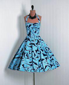 1950's Vintage Alfred Shaheen Designer-Couture Blue Atomic-Print Cotton Low-Plunge Halter Petal-Bust Rockabilly Full Circle-Skirt Sun Dress