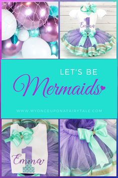 Mermaid Birthday Outfit - Purple Aqua Gold Under the Sea Ribbon Trim Tutu - Ocean First Birthday Cake Smash For Girl - Any Age Summer Party Themes, First Birthday Party Decorations, First Birthday Invitations, First Birthday Parties, First Birthdays, Baby Girl 1st Birthday, Birthday Cake Smash, 1st Birthday Outfits, Cake Smash Photos