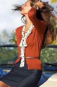 burnt orange cardi, polka dot cream and black blouse, denim pencil skirt, brown belt