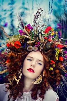 FLOWERY by Simona Smrckova, via Behance looks like she got drunk and ran into a wreath.