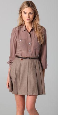 blouse & pleated skirt.