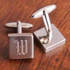 Brushed Silver Square Cufflinks, $25.99 - (www.annigifts.com/brushed-silver-square-cufflinks/)