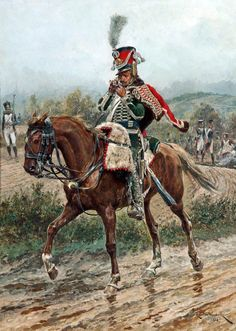 French Hussars, The Napoleonic wars, This trooper is of interest, he is wearing a green dolman and breeches with red pelvises. His lace is white, but his shako plate has a number 7 on it. Military Art, Military History, Etat Major, French Army, Napoleonic Wars, Kaiser, Toy Soldiers, Historical Photos, Horses