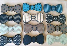 Baby Shower Cake Fun dozen of bow ties. Perfect for a baby shower Shipping within the United Stat… Baptism Desserts, Baptism Cookies, Baby Shower Desserts, Baby Shower Cookies, Dad Birthday Cakes, Baby Boy Birthday, Birthday Cookies, Husband Birthday, Birthday Ideas