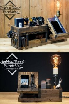 Perfect Gift! Wood Docking Station Lamp with Apple Watch Charger - Desk Lamps, Wood Lamps -  Look at theseWood Docking Station Lamps, 3 models, 3 gift ideas with happiness assurance! All wood products are hand shaped and crafted in-house. This gives …    Read More »  #Bedside #Concept #Handmadelighting #Industrial #Lamp #Lightbulb #Lighting #Lightingdesign #Metallic #Steampunk #Woodlamp #Woodworking