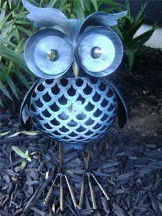 OWL Garden Ornament 32cm Rustic Blue Metal OWL Statue Home AND Garden Decor NEW | eBay