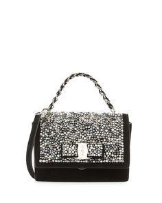 Salvatore Ferragamo leather crossbody bag with Swarovski crystal panel.  Silvertone hardware. Woven chain top 2e0b67425eae8