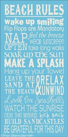 BEACH RULES-beach rules stencil subway typography, beach art - wake up smiling, flip flops, sunscreen, relax