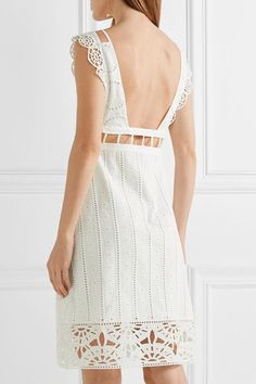 Opening Ceremony - Cutout Broderie Anglaise Cotton Mini Dress - White - US12