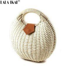Lala IKAI nido de caracol de asas del bolso del verano de la playa bolsas pequeñas bolso de marca mujer bolsos de paja de bolso de la rota BWC0312-5