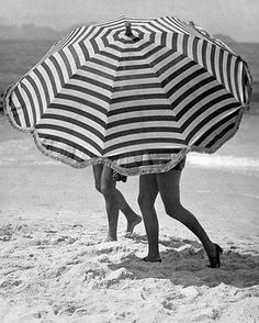 striped umbrella, beach