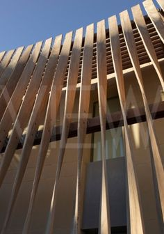 British Embassy Algiers Algeria Mc Aslan and Partners - twisted timber screen close up Building Skin, Building Facade, Building Design, Wooden Facade, Wooden Screen, Glass Screen, Timber Screens, Timber Cladding, Timber Battens