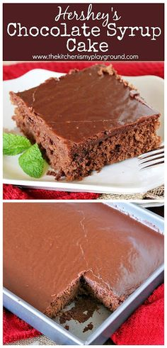 Hershey's Chocolate Syrup Cake ~ Topped with rich boiled chocolate icing, this classic cake is moist, tender, & absolutely delicious.  #chocolatecake #Hersheysyrupcake #Hersheysyrup #sheetcake