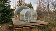 """Billing itself as the """"five million star hotel,"""" Buubble is a unique lodging option about an hour outside of Reykjavík, Iceland, that offers guests the chance to sleep outdoors in one of five transparent bubble units."""