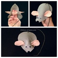 Today's Chinese preschool craft: mouse puppet. 小老鼠  (xiǎo lǎo shǔ) is little mouse, 灰色 (huī sè) is gray, and 淚滴形 (lèi dī xíng) is teardrop shape.