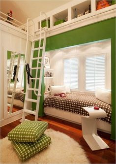 10 Unique Bedroom Decor Tips - One Dog Woof Love the rolling 'library ladder' used to reach the cubby holes & little loft above the closet