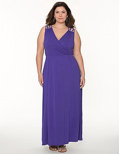 You can never go wrong with a long & lovely maxi dress! Our lattice shoulder maxi carries you through the season beautifully with a fit made for curves, featuring a flattering surplice neckline and elastic waist to define your shape. Soft knit construction keeps you cool and comfy - perfect for the sultry summer days ahead. lanebryant.com