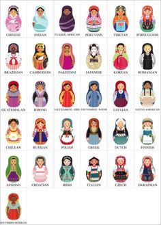 Unifying cultures through multi-national matryoshka dolls. They make me think of our dolls as children.