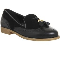 Office Ringo Tassel Brogue Loafers (£65) ❤ liked on Polyvore featuring shoes, loafers, black leather black suede, flats, women, leather loafers, flat shoes, black loafer flats, black leather shoes and wingtip shoes