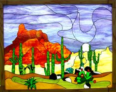 """Steve Parker """"Stained Glass Saguaro Cactus in Moonlight"""""""