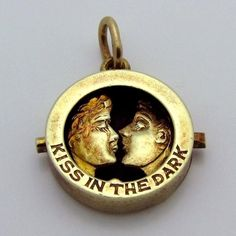 Vintage 14K Gold Sloan & Co. 3D Mechanical Kiss in the Dark Charm from charmalier on Ruby Lane