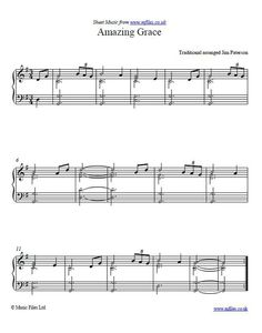 "The lyrics for ""Amazing Grace"" were written by John Newton, and the composer William Walker put them together with a traditional folk melody. This is a piano arrangement, but other arrangements are also available if you click through. The song's sentiments make it suitable for various church services including funerals and weddings. Download the sheet music and audio files."