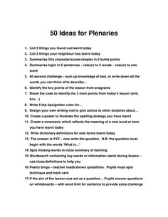 50 Plenary Ideas – c Hardee 50 Plenary Ideas 50 Plenary Ideas Primary Teaching, Primary Lessons, Primary Education, Education Quotes For Teachers, Teaching Activities, Teaching Strategies, Classroom Activities, Teaching English, Teaching Resources