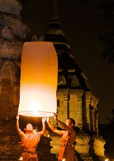 Say a Prayer. Loy Kratong Floating Lantern in Chiang Mai - Thailand