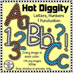 Hot Diggity  - Check Outlined Letters and Numbers - Brown,