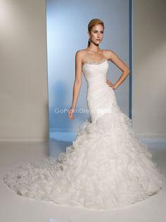 Mermaid Organza Ruffles Lace-up Back Beaded Wedding Dress