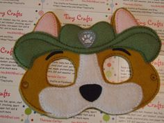 Tracker Ranger Pup inspired felt mask dress up or Halloween Costume Pretend Play Imagination Education party favor by TinyCrafts on Etsy Dress Up Closet, Felt Mask, Craft Shop, Felt Dolls, Pretend Play, Fun Crafts, Ranger, Party Favors, Imagination