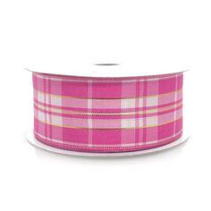 Plaid Checkered Wired Edge Ribbon, 1-1/2-inch, 10-yard, Pink