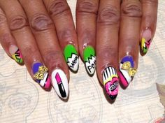 Nail Trends: Pop Art Nails From Any Warhol to Comic Books A Girly twist on Comic Art Feminine lipstick art comic book art Pop Art bow art throwback Carnival Nails, Pop Art Nails, Bow Art, Bad Makeup, Makeup Starter Kit, Lipstick Art, Best Acrylic Nails, Nail Art Galleries, Nails Magazine
