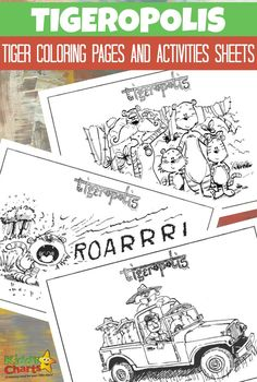 Tigeropolis: Tiger coloring pages and activity sheets