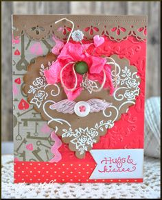 Hugs & Kisses Valentine card designed by Tammy Hobbs @ Creating Somewhere Under The Sun for @DeNami Design Valentine Blog Hop. #hugsandkissescard, #valentinecard, #shabbyvalentinecard, #DeNamidesign