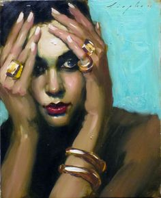 Artist: Malcolm T. Liepke (b. 1954), oil on canvas {contemporary artist beautiful female head woman face portrait painting} <3 Mysterious !!