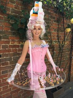 takes centre stage on this prestigious Alice in Wonderland themed corporate event mingling with guests offering specially created themed canapes. Uk Parties, Themed Parties, Birthday Parties, Birthday Cake, Johnny Depp Mad Hatter, Carnival Costumes, Halloween Costumes, Prom Themes, Young Women Activities