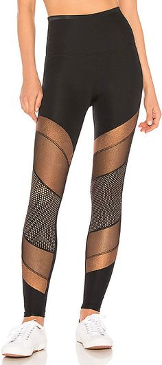 Welcome guest! This is the Beyond Yoga Soleil High Waist Long Legging.  This legging is 85% nylon, 15% spandex, Stretch fit, Contrast metallic and mesh panel accents.  For more information click the image. #YogaPants#ad