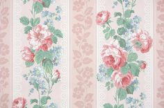 1940's Vintage Wallpaper Floral Wallpaper by HannahsTreasures