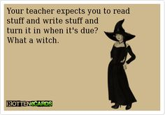 Your teacher expects you to read stuff and write stuff and  turn it in when it's due?  What a witch.