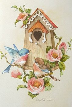 Carolyn Shores Wright Blue Birds House Pink Rose Flower - 1046 x 1547