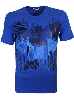 Versace Collection Blue Medusa Print Graffiti T-Shirt - Versace Collection blue medusa print graffiti t-shirt from the Versace Collection features a crew neck, artistic medusa graffiti motif to front and logo branding to the reverse neck.