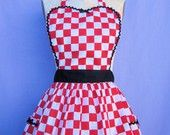 Retro apron 50s DINER Red Checkerboard Womens full APRON   vintage style flirty hostess gift aprons