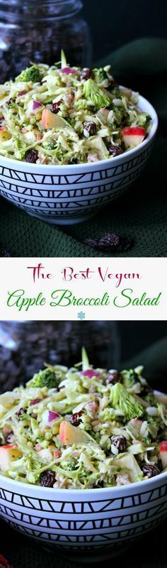 Vegan Apple Broccoli Salad has everyone's favorite vegetables and fruits. You … Vegan Apple Broccoli Salad has everyone's favorite vegetables and fruits. You throw everything in a bowl then pour on the slightly sweet and tangy dressing. Toss and eat! Raw Vegan Recipes, Vegetable Recipes, Vegetarian Recipes, Healthy Recipes, Vegan Raw, Healthy Salads, Veg Salad Recipes, Raw Vegetable Salad, Raw Vegan Dinners